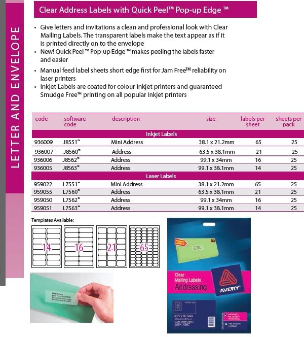 Clear Address Labels with Quick Peel Pop-up Edge Avery 14, 16, 21, 65 per sheet - box 25 sheets $29.99
