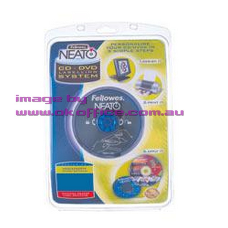 Neato cddvd label maker kit applicator software labels for Fellowes cd label template