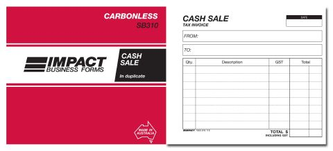10150476 Cash Receipt Book Carbonless 5x4 Duplicate Cash Sale Book  Carbonless Impact 4 X 5 Duplicate SB310  Cash Sale Receipt