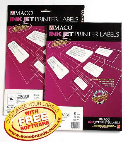 Ok office school bulk stationery supplies sydney brisbane 19002970 l202508 labels ink jet address 16 sheet 991x34 pk 25 template code is j8162 inkjet labels 16 per sheet white permanent maco l202508 pack 25 maco pronofoot35fo Choice Image