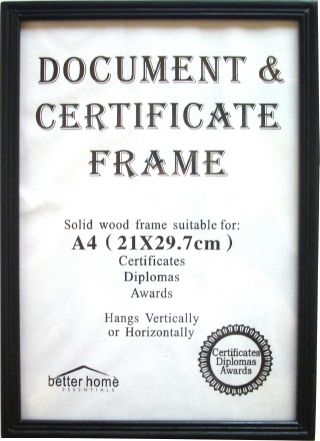 certificate frame a4 wooden black od4000b not stocked but can be ordered 710 days - Document Frames