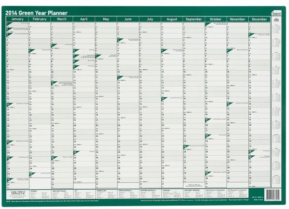 Year Planner 2018 A2 Sasco Green Wall Erasable
